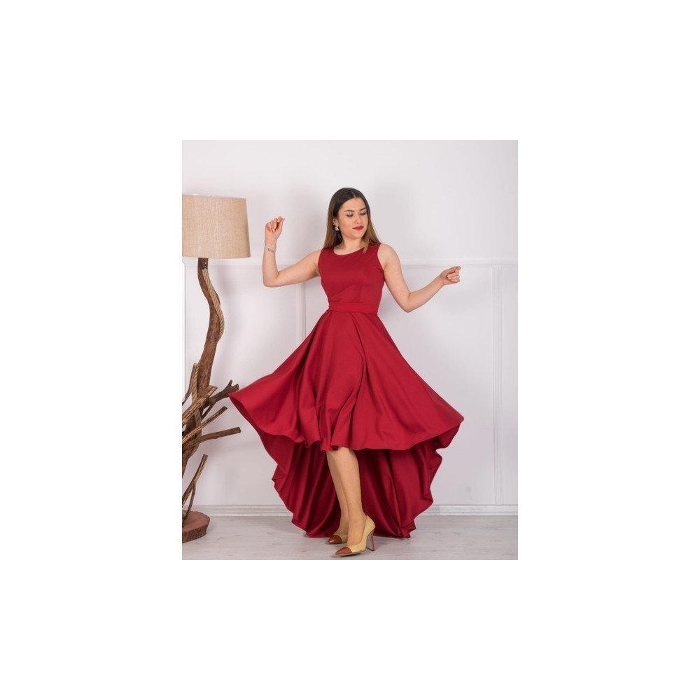 de56916780b61 En Ucuz Barevsu 05 Kırmızı Scuba Kumaş Uzun Kadın Abiye Elbise Fiyatları
