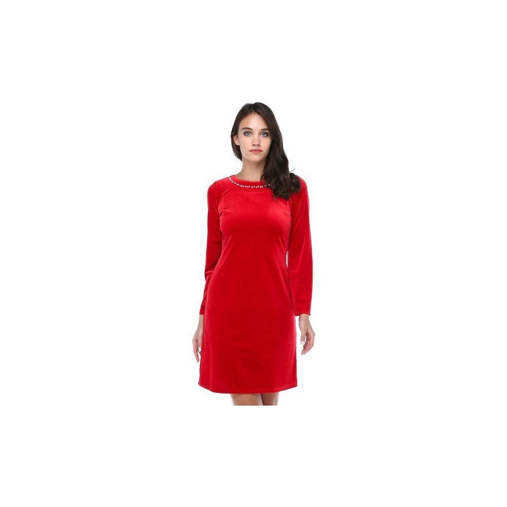 fd8933a9d473d En Ucuz B&S Line Kadife Yakası Taşlı Kırmızı Kadın Elbise Fiyatları
