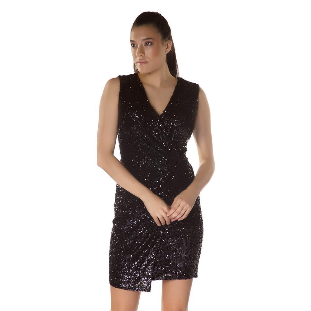 deeecf5a2f957 En Ucuz 6ixty8ight S56482 Siyah V Yaka Payetli Kısa Abiye Elbise Fiyatları