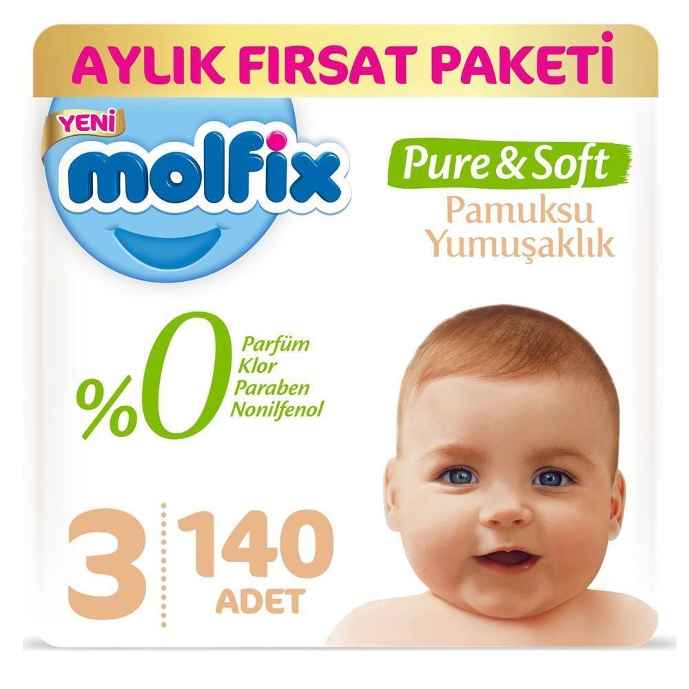 Molfix Pure Soft No:3 Midi Aylık Fırsat Paketi 140 Adet Bebek Bezi Fiyatları