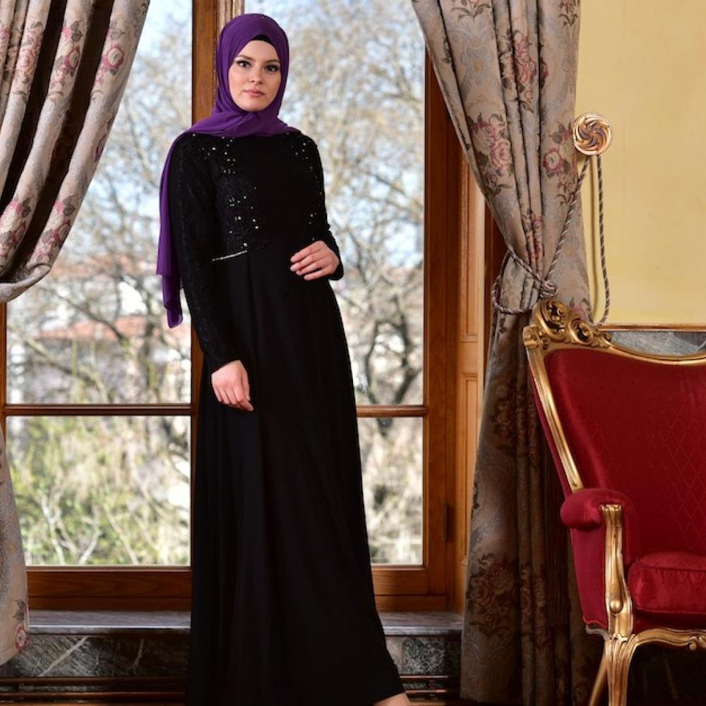 ff485fc0d80 En Ucuz 1713198-02 Taşlı Abiye Siyah Elbise Fiyatları