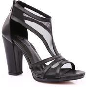 8e687203bab14 Beety 1419 Kadın Burnu Açık T-Strap Transparan Detaylı Topuklu Ayakkabı  Siyah - 37