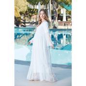 0d0c876a0cded Gör&Sin Kol ve Etek Tül Detaylı Hamile Abiye Elbise Beyaz