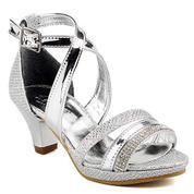 2d4bec2437155 Sarıkaya B510-GY Taşlı Gümüş Topuklu Kız Çocuk Abiye Ayakkabı