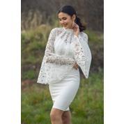 333cd556860db Sateen 9YEL522K106 Beyaz Dantel Volanlı Nikah Elbisesi
