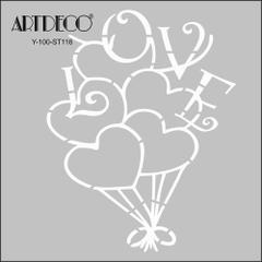 Artdeco 116 Kalp Balon 30x30 Cm Stencil Boyama şablonu