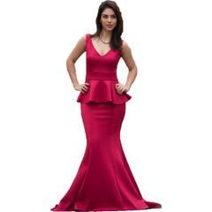 3e7f92eddc571 Barevsu 163 Kırmızı Scuba Kumaş Balık Kadın Abiye Elbise ...