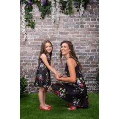 2bda24e3dacef Defacto J1493A618SMBK27 Çiçek Desenli Prenses Model Kız Çocuk Elbise ...