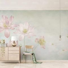 Duvarkapla 3 Boyutlu Suluboya Boyama Cicekler Desenli 315x200 Cm
