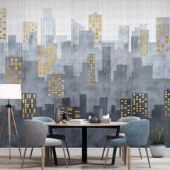 En Ucuz Duvarkapla 3 Boyutlu Modern Basit şehir Mimarisi Tv Arka