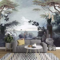 En Ucuz Duvarkapla Koyu Ağaçlar Boyama Deniz Manzarası Pelikan Kuş