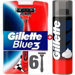 b1567774147a1 Gillette Blue 3 6 lı + Gillette Köpük 200ml Hediyeli Traş Bıçağı Seti ...