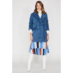 9f8e4082db506 En Ucuz Koton 9KAK06245EW Mavi Cep Detaylı Kadın Kaban Fiyatları