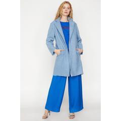 56048b107f511 En Ucuz Koton 9KAK06613EW Mavi Cep Detaylı Kadın Kaban Fiyatları