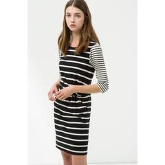 fc1abaad5e847 En Ucuz Koton 7KAK83518OK Siyah Çizgili Elbise Fiyatları