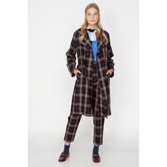 5b8bcc9523e82 En Ucuz Koton 9KAK05504UW Lacivert Ekoseli Kadın Palto Fiyatları