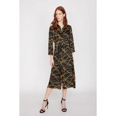 1975ec73900ca En Ucuz Koton 9YAK88238PW Siyah Desenli Günlük Kadın Elbise Fiyatları