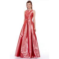 f33ab596b6844 En Ucuz Maxxe 4016T Mercan Desen Ve Simli Tafta Abiye Elbise Fiyatları