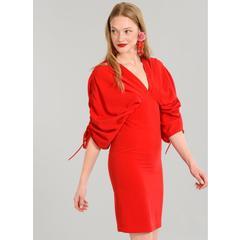 ff2b653d5773f En Ucuz People By Fabrika 18YEL142 Kırmızı Kolları Büzgülü Elbise ...