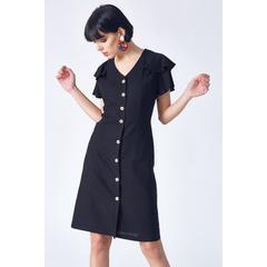 2228bd50ac3fd En Ucuz Robin D86105-102 Siyah Kolları Volan Detaylı Elbise Fiyatları