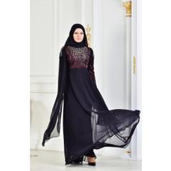 6845ec4f089af En Ucuz 3132-02 Taş Baskılı Simli Abiye Bordo Siyah Elbise Fiyatları