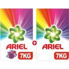 Ariel 7 kg Mor Çiçekler Toz Çamaşır Deterjanı + 7 kg Parlak Renkler Çamaşır Deterjanı