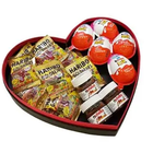 Kalp Kutu İçinde Mini Nutella Kinder Joy Haribo Paketi