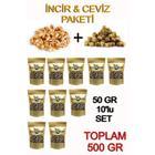 Uzunderegıda 50 gr 10'lu paket Kuru İncir & Ceviz - İkisi Bir Arada Süper Atıştırmalık