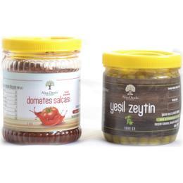 1 kg Yeşil Zeytin + Domates Salçası