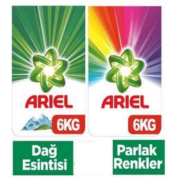 Ariel Dağ Esintisi 6 kg + Ariel Parlak Renkler 6 kg Toz Çamaşır Deterjanı