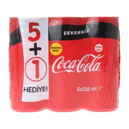 Coca Cola Şekersiz 6x250 ml Kutu Kola