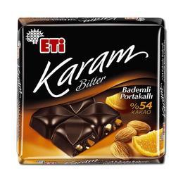 Eti Karam 54 Bitter 60 gr Kakaolu Portakallı Bademli Çikolata