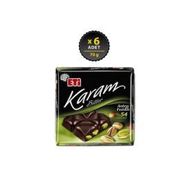 Eti Karam 6x70 gr %54 Kakaolu Antep Fıstıklı Bitter Çikolata