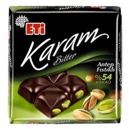 Eti Karam Bitter Antep Fıstıklı Kare 70 gr Çikolata
