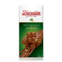 Fiorella Fıstıklı Tablet 10x80 gr Sütlü Çikolata