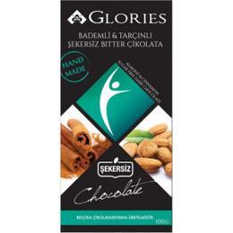 Glories Chocolate 100 gr Bademli ve Tarçınlı Diyet Bitter Tablet