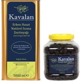 Kavalan Iyi Tarım Uygulamaları 5 lt Erken Hasat Soğuk Sıkım Zeytinyağı + 2 kg Gemlik Siyah Zeytin Sele Az Tuzlu