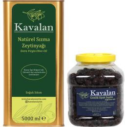 Kavalan Iyi Tarım Uygulamaları 5 lt Soğuk Sıkım Sızma Zeytinyağı + 2 kg Gemlik Siyah Zeytin Kuru Sele Az Tuzlu