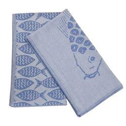 Ödel Buldan 45x70 cm 2'li Mavi Balık Desenli Mutfak Kurulama Bezi