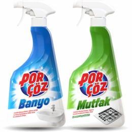 Porçöz 750 ml Banyo Temizleyici+750 ml Mutfak Temizleyici