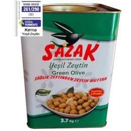 Sazak 3700 gr Kırma Yeşil Zeytin Teneke