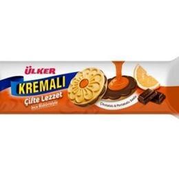 Ülker Kremalı Çifte Lezzet Çikolatalı Portakal Kremalı 84 gr Bisküvi