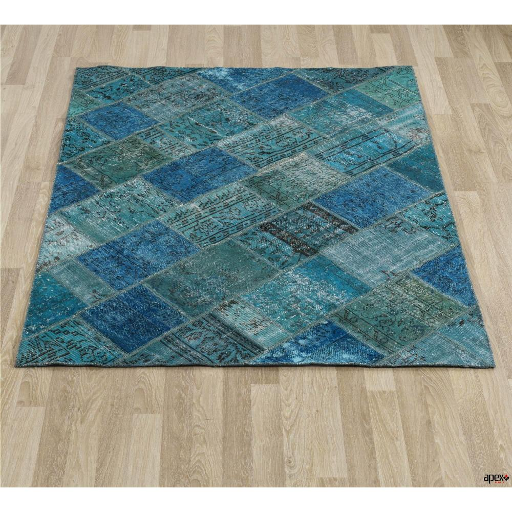 Apex Patchwork Cross Turkuaz 80x150 El Halısı