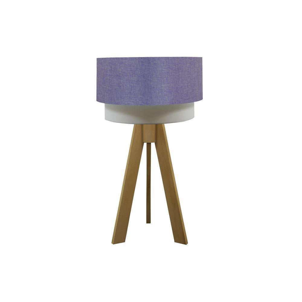 Crea Lighting Doubleshade Keten Tripod Naturel Lila Abajur