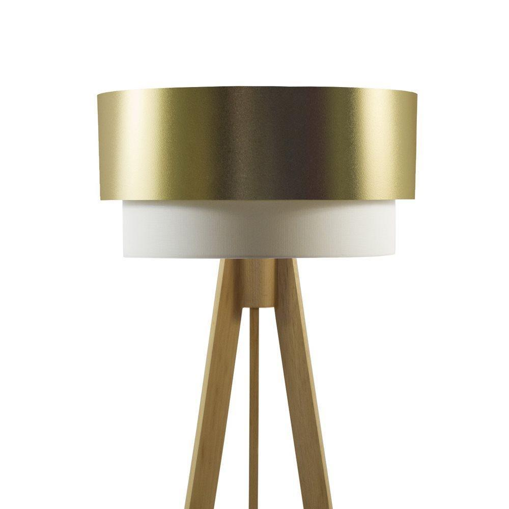 Crea Lighting Doubleshade Pvc Tripod Naturel Gold Lambader