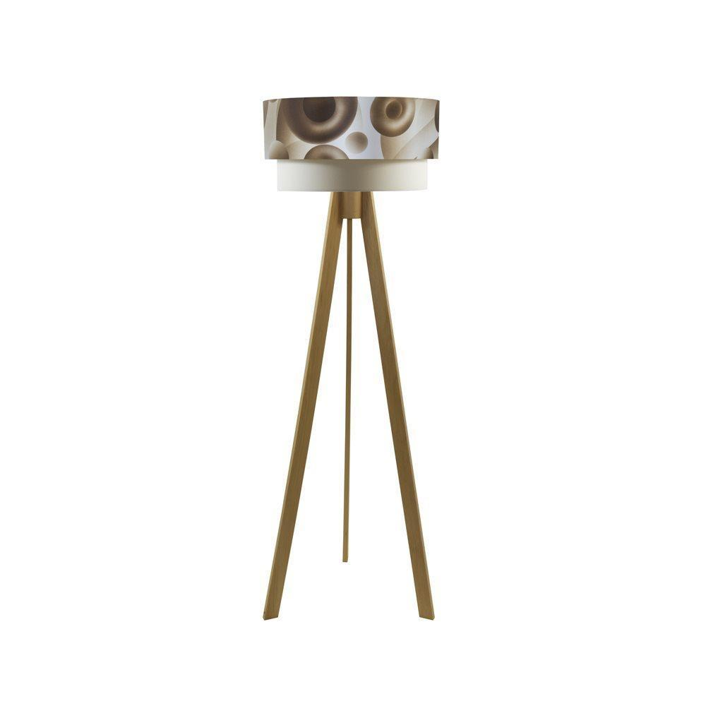 Crea Lighting Doubleshade Saten Tripod Naturel Daire Lambader