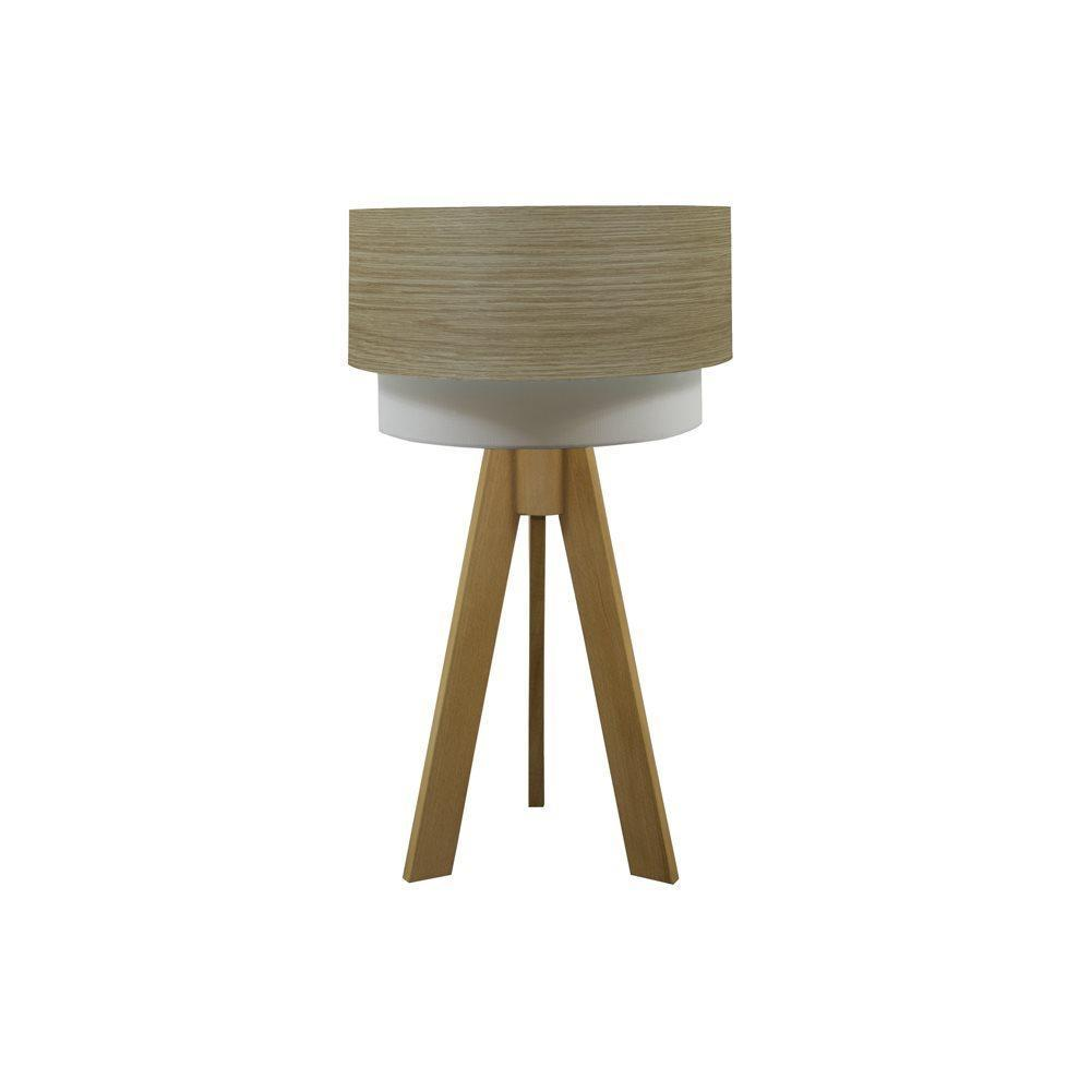 Crea Lighting Doubleshade Wood Tripod Naturel Açık Meşe Abajur