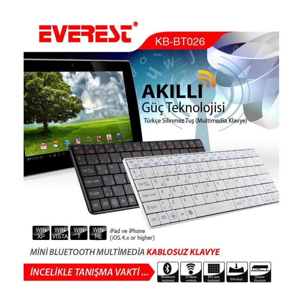 Everest KB-BT026 Siyah Klavye