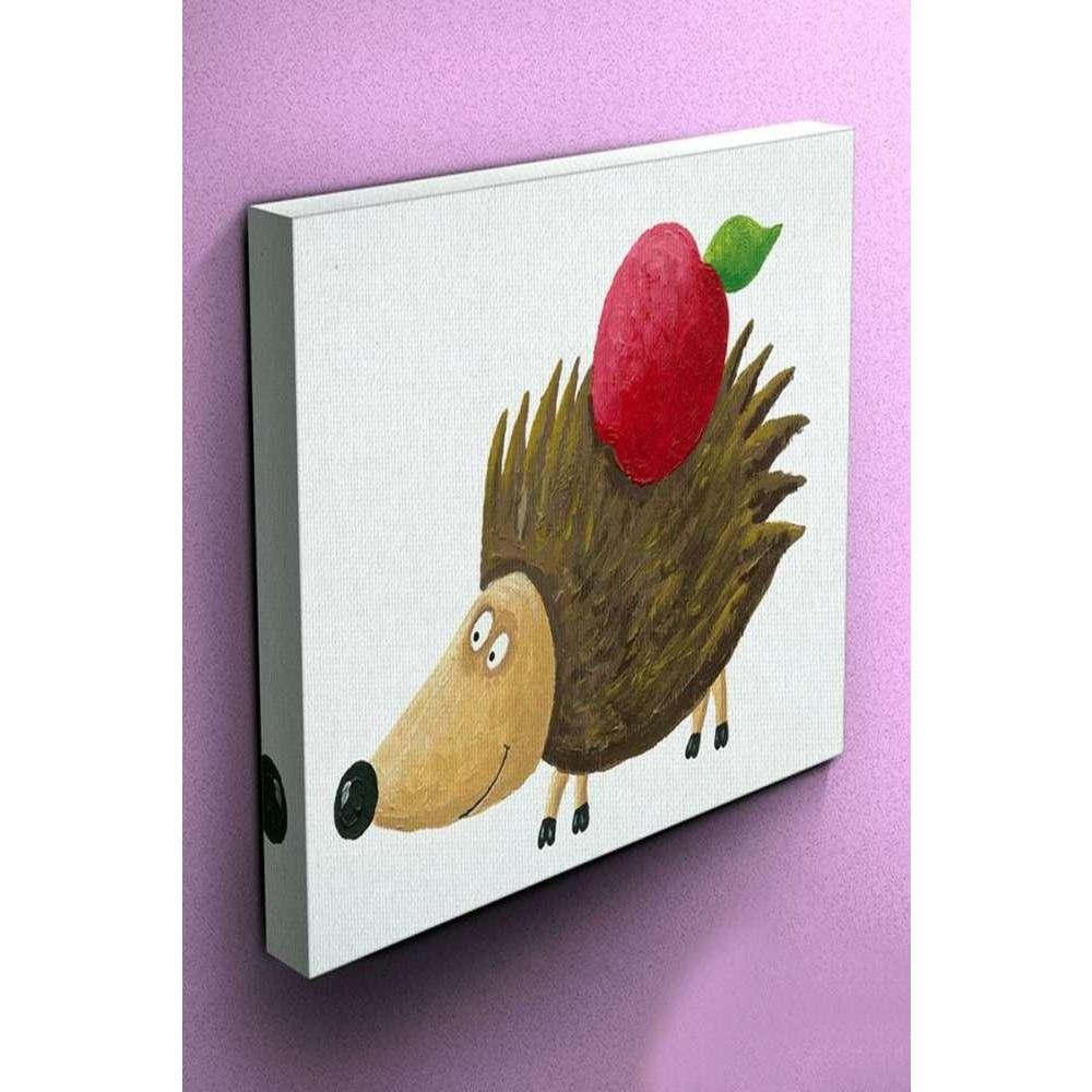 Tabloshop Hedgehog With Apple On His Back Kanvas Tablo
