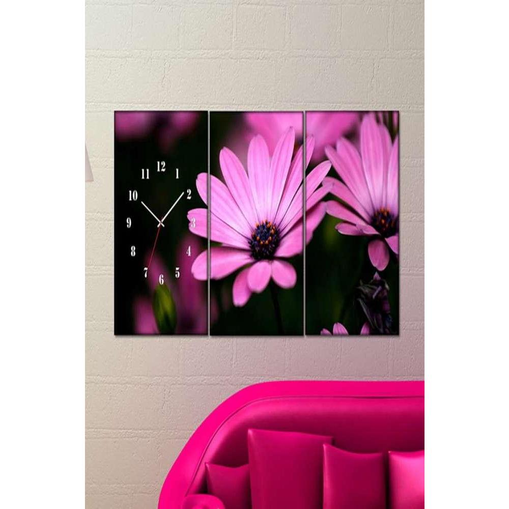 Tabloshop Pink Flowers Kanvas Tablo Saat